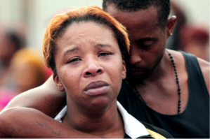 Lesley McSpadden and Louis Head, the mother and stepfather of Michael Brown, on August 9th.